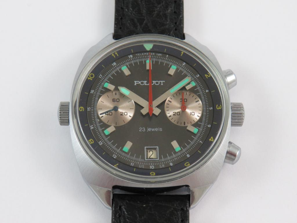 c90e06a98 Sovětské letecké hodinky se stopkami POLJOT - nenošené - Antik ...